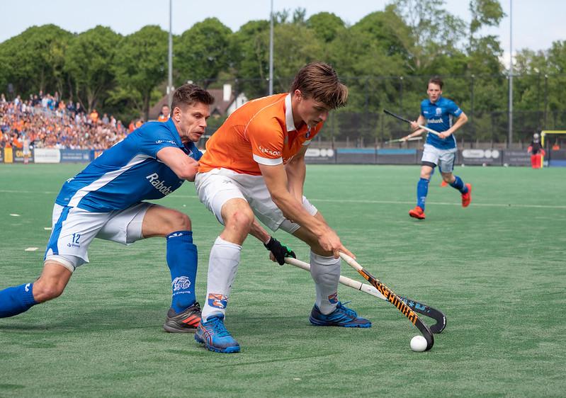 Jorrit Croon wint in 2019 de landstitel met HC Bloemendaal. Foto: Roel Ubels